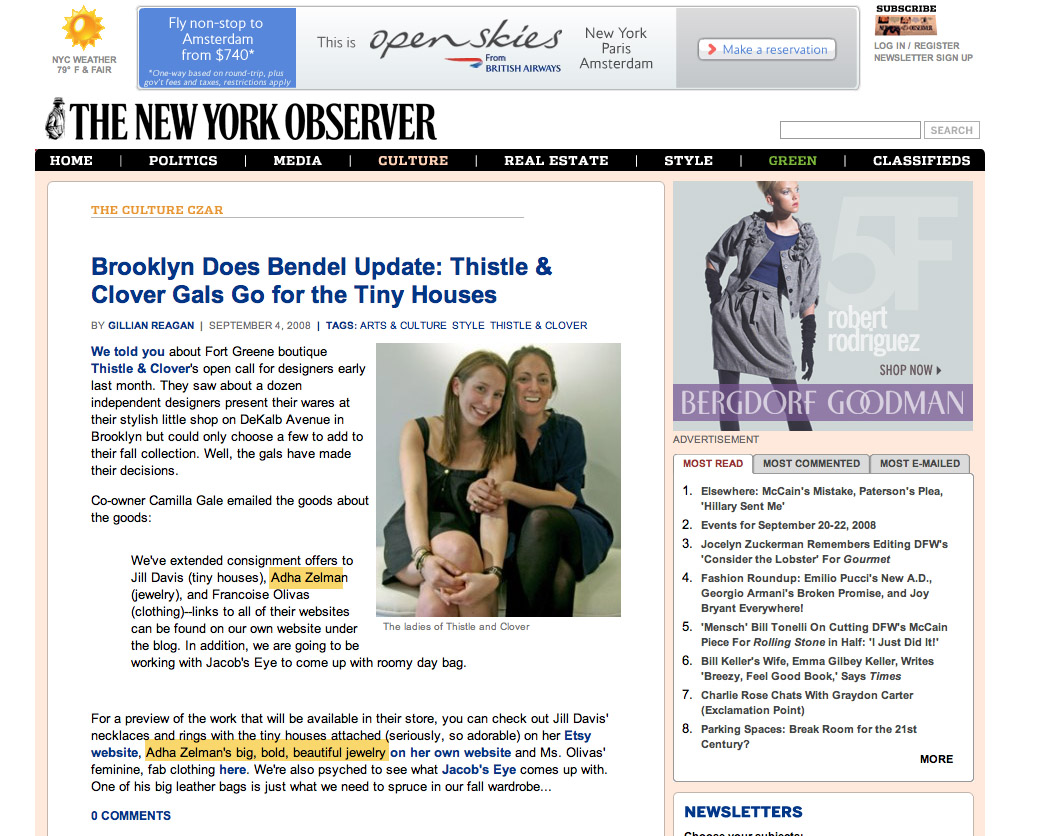 New York  Observer - Adha Zelma Thistle & Clover